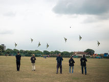 A line of people flying kites Royalty Free Stock Image