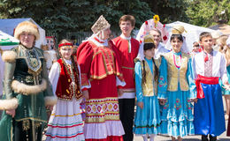 Line of People In Russian National Dress Royalty Free Stock Photo