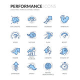 Line Performance Icons. Simple Set of Performance Related Color Vector Line Icons. Contains such Icons as Expansion, Power, Haste, Speed, Growth and more royalty free illustration