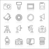 Line photography equipment icons Stock Photography