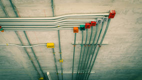 Line pipe for safety wire overhead Stock Photography
