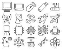 Technology line pixel icons set. Line pixel icons set: High technology royalty free illustration