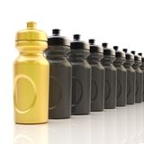Line of plastic drinking bottles Stock Photos