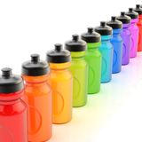 Line of plastic drinking bottles Stock Image