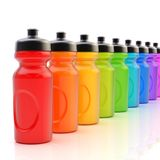 Line of plastic drinking bottles Royalty Free Stock Images