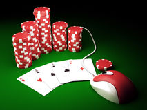 On line poker. Gambling chips and poker cards on green carpet with computer mouse - 3D render Royalty Free Stock Photography