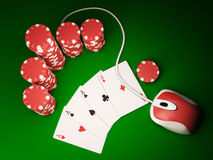 On line poker. Gambling chips and poker cards on green carpet with computer mouse - 3D render Royalty Free Stock Image
