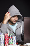 On-line-Pokerspieler Stockbild