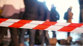 Line police city danger. Police line crime street tape stock footage