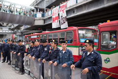 Line of policemen as Stop EHIA campaign Stock Image