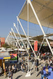 Line of posts of shading tensile structure , EXPO 2015 Milan. MILAN, ITALY - October 19, EXPO 2015, foreshortening of the line of posts holding the membrane Stock Images