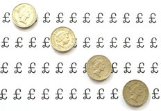 Line of pound coins Royalty Free Stock Photography