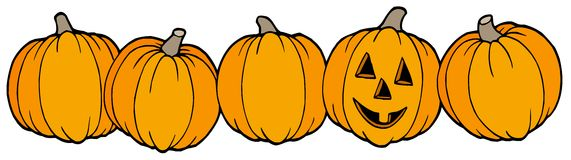 Line of pumpkins Royalty Free Stock Photos