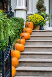 Line of Pumpkins Up Steps Royalty Free Stock Images