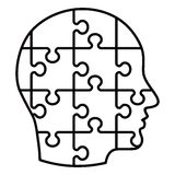 Line puzzle profile Stock Photos