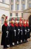 HThe Queens Household Cavalry on parade outside Horse Guards Parade, London, 2018. A Line of The Queens Household Cavalry on parade outside Horse Guards Parade Stock Photography
