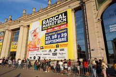 Line for the Radical Market in Barcelona. Photo of people waiting to get inside the radical market in barcelona spain on 9/27/18. This market offers steep royalty free stock images