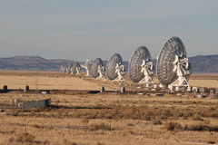 Line of radiotelescopes Royalty Free Stock Images