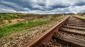 Line railroad tracks over Spring Valley. Timelapse, 4k stock footage