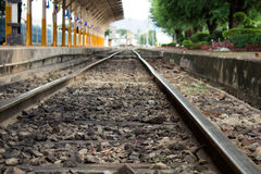 Line of railway crossing in rural Royalty Free Stock Photo