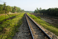 Line of railway crossing in rural of Thailand. Stock Photo