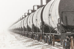Line of Railway Tank Cars in Winter Stock Photography