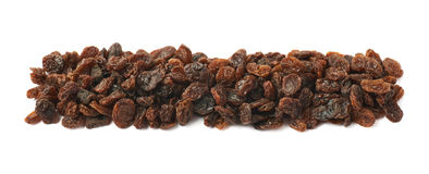 Line of raisins isolated Stock Images