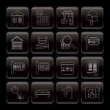 Line Real Estate Icons Stock Photo