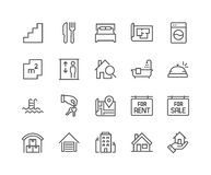 Line Real Estate Icons royalty free illustration