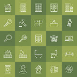 Line real estate icons Royalty Free Stock Images