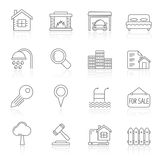 Line Realistic Real Estate icons Royalty Free Stock Images