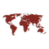 Line red and black world map like digital noise Stock Image