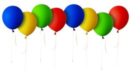 Line of red, blue, green and yellow balloons