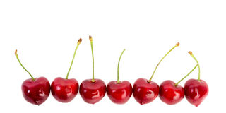 Line of red cherries. Against white background Stock Photography