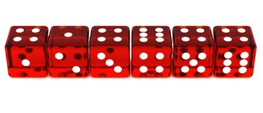 Line of Red Dice Royalty Free Stock Photo