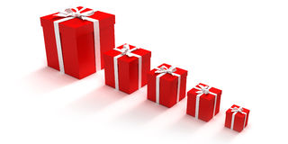 Line of red gift boxes. Red gift boxes in different sizes stock illustration