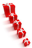 Line of red gift boxes. Red gift boxes in different sizes royalty free illustration