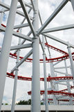 Line of red roller coaster rail Stock Photography