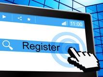 On-line-Register bedeutet World Wide Web und das Registrieren vektor abbildung