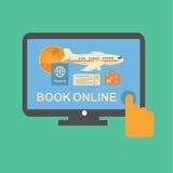 On-line-Reise etikettiert Anmeldungsservice mit Flugzeug Lizenzfreie Stockfotos