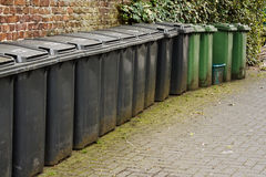 Line of residential wheelie bins Royalty Free Stock Photos