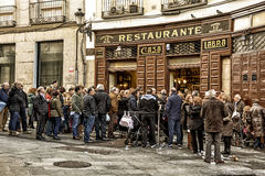 Line in restaurant in Madrid Royalty Free Stock Photos