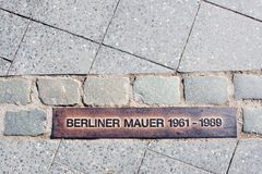 Line on road from Berlin Wall royalty free stock image