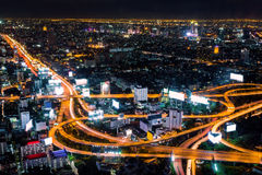 Line of road in capital city Thailand. (Bird eye view Bangkok,Thailand Stock Image