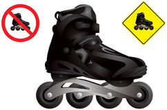 In line roller skate. Vector, inline skating boot realistic detailed image, in-line roller and no roller skating road signs stock illustration