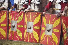 The line of Roman legionaries is preparing for fight. Stock Images