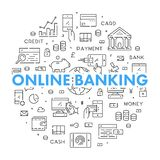 Line round banner for online banking. Modern linear concept for internet banking Stock Photography