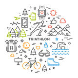 Line round concept for triathlon. Vector linear prints on T-shirts for triathlon. Open path Stock Image