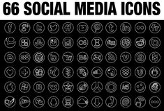 Line round social media icons collections Royalty Free Stock Photos