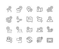 Line Route Icons Royalty Free Stock Photography